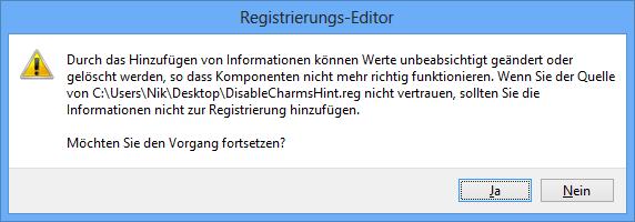 Registry Eintrag hizufügen