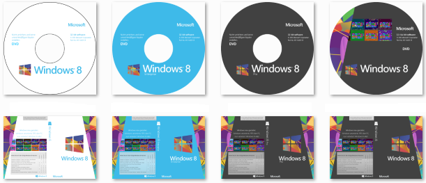 Windows 8 DVD-Label und Cover
