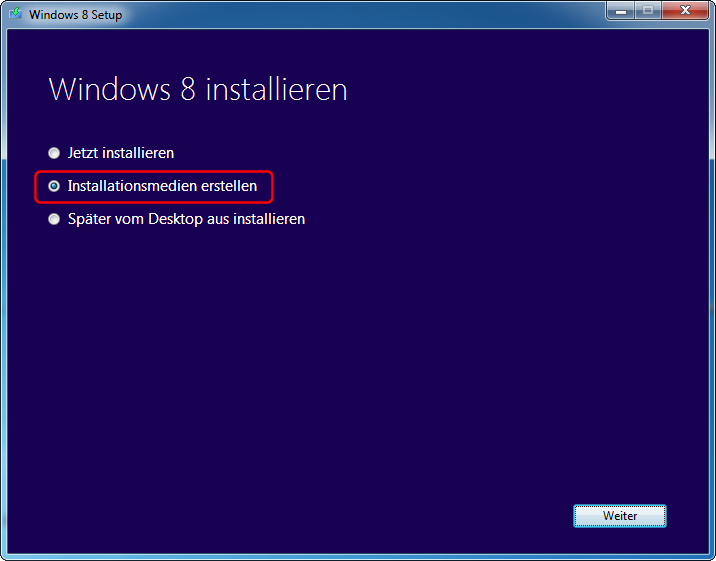Windows 8 Pro Download Installationsmedien erstellen