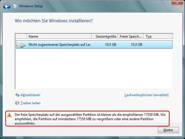 Windows 8 Festplattenspeicherplatz Bedarf