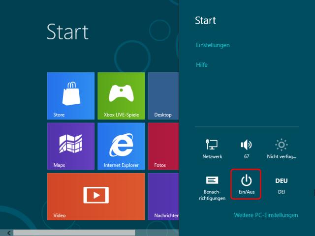 Herunterfahren / Beenden von Windows 8