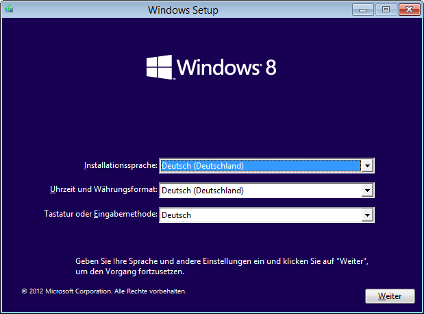 Windows 8 Installation Sprache auswählen