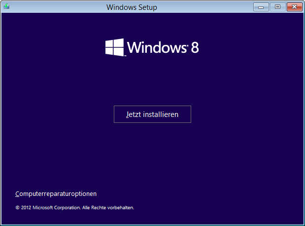 Windows 8 Installation Computerreparaturoptionen