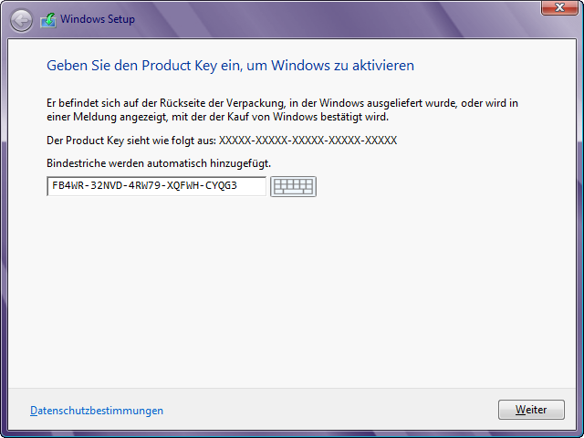 Windows 8 Installation Key Eingabe