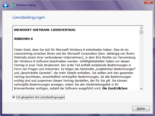 Windows 8 Installation Lizenzbedingungen