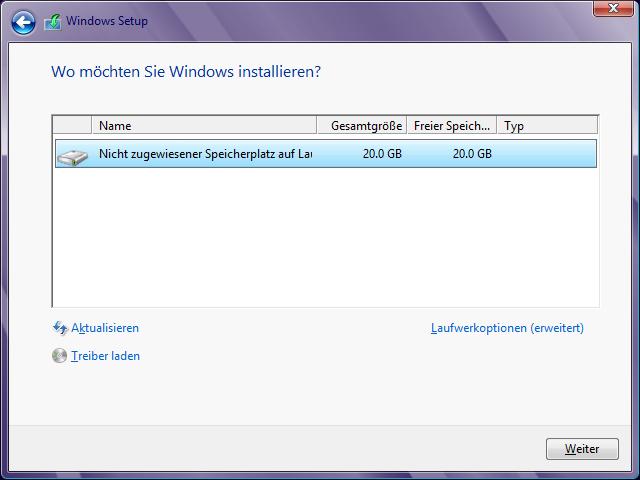 /Windows 8 Installation Festplatte auswählen