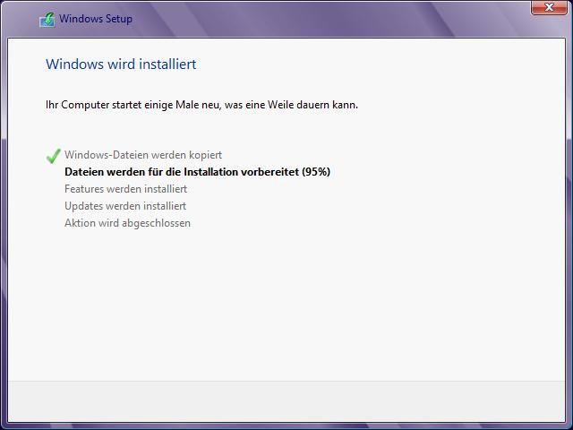 Windows 8 Installation Verlauf