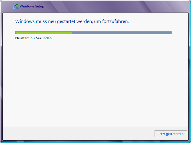 Windows 8 Installation neu booten