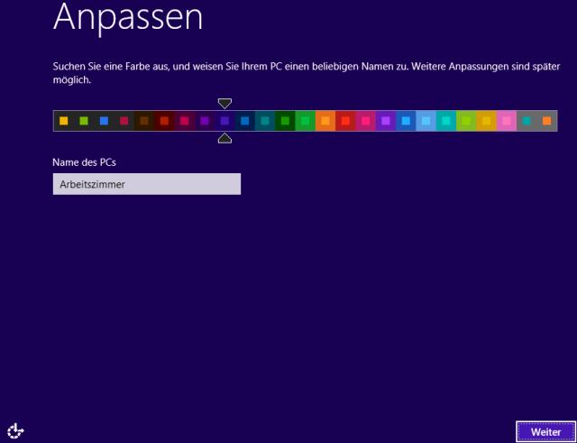 Windows 8 Installation Farbschema auswählen