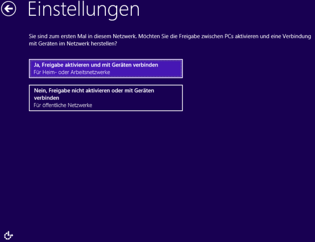 Windows 8 Installation 12 Freigaben einstellen