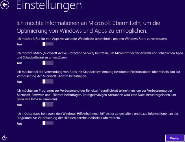 Windows 8 Installation Informationen übermitteln