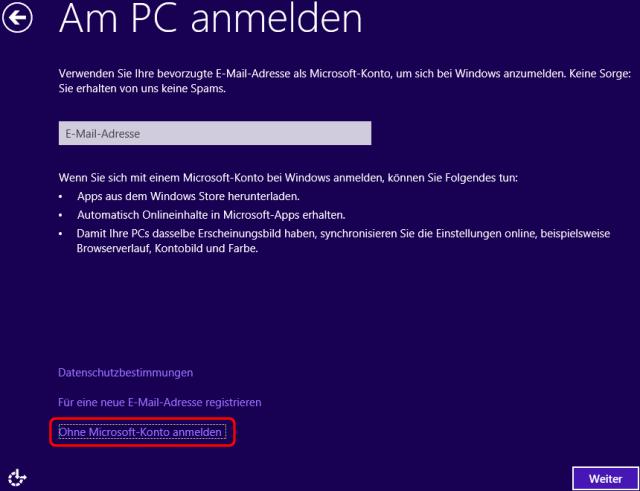 Windows 8 Installation Microsoft Konto Anmeldung