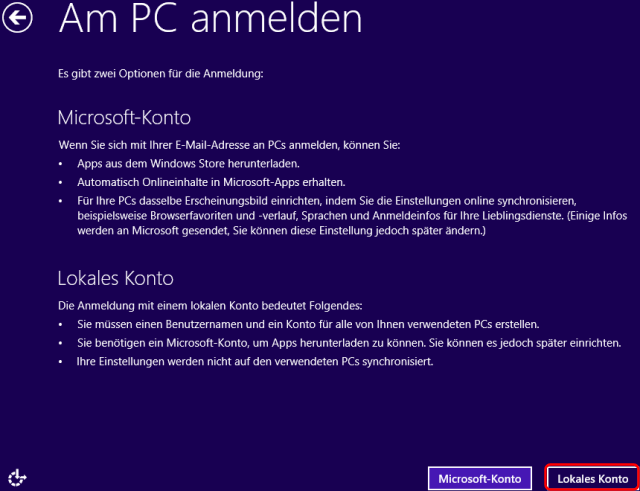 Windows 8 Installation lokales Konto