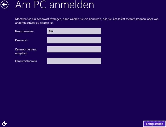 Windows 8 Installation Benutzer einrichten