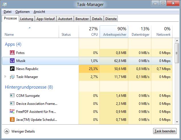 Shortcut Shift + STRG + ESC Taskmanager