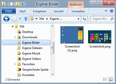 Shortcut Windows + Druck Screenshots