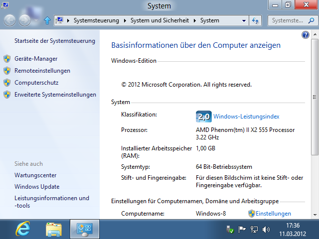 Shortcut Windows + Pause System-Informationen
