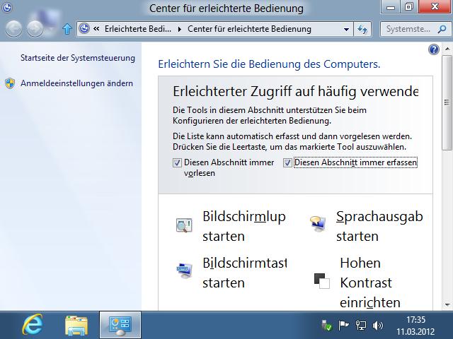 Shortcuts Windows + U Center für erleichterte Bedienung