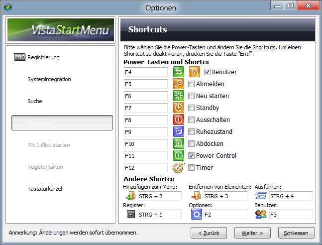 Vista-Start-Menu individuelle Buttons einblendbar