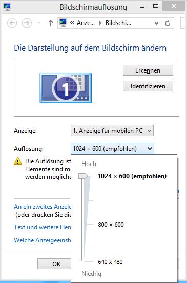 Mobile Intel 945 Auflösung 1024x600
