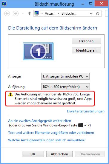 Mobile Intel 945 AuflösungsWarnung bei Apps