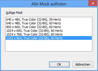 Mobile Intel 945 Auflösung-Modi nachher