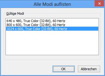Mobile Intel 945 Auflösungs-Modi auswählen