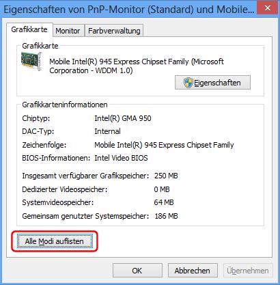 Mobile Intel 945 Auflösungs-Modi
