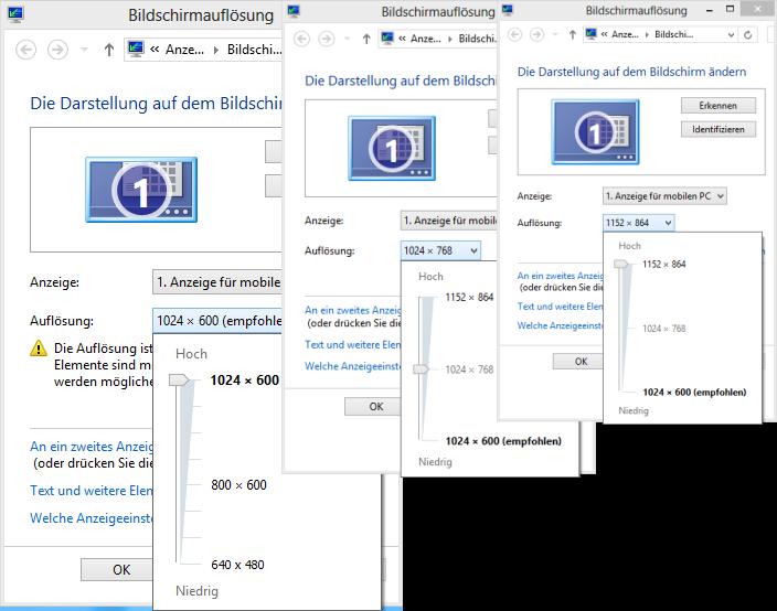 Mobile Intel 945 Auflösungs-Vergleich
