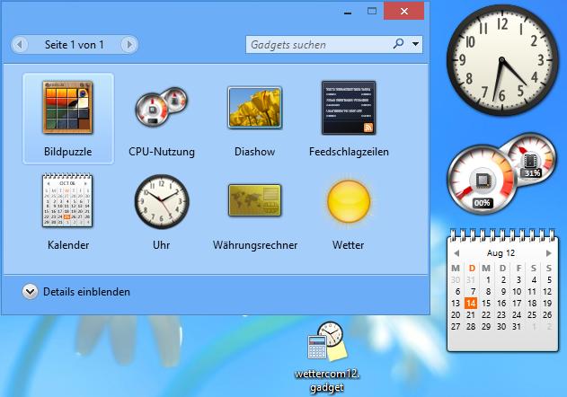 Sidebar Gadgets installiert
