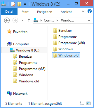 Downgrade Windows.old  Ordner