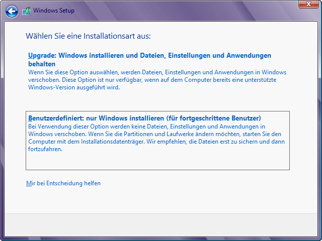 Windows 8 Installation in virtuelle Festplatte: Installationsart auswählen