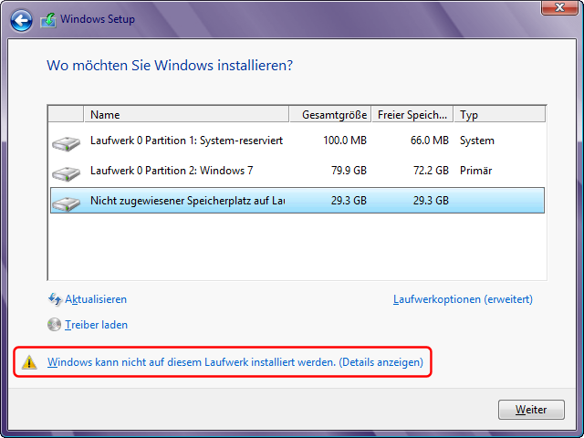 Windows 8 Installation in virtuelle Festplatte: VHD auswählen