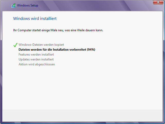 Windows 8 Installation in virtuelle Festplatte