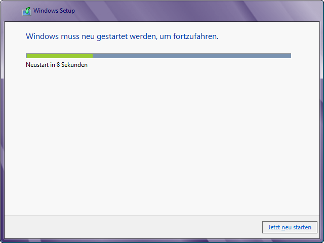 Windows 8 Installation in virtuelle Festplatte: Neu booten