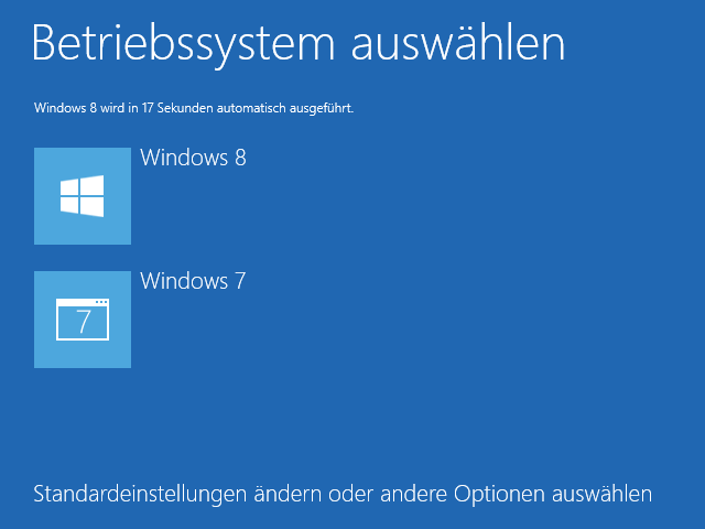 Windows 8 VHD Installation: Bootmenü