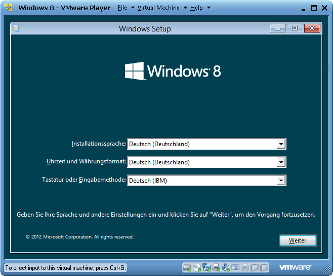 VMware Player Windows 8