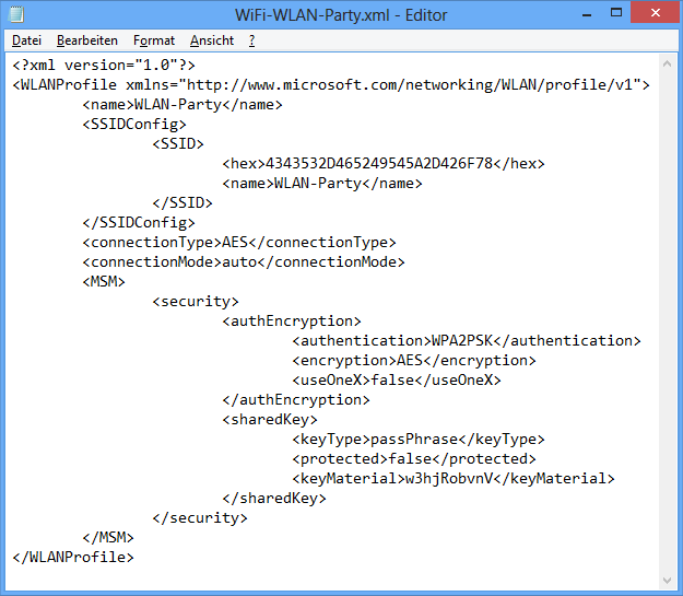 WiFi Profile Manager XML-Datei
