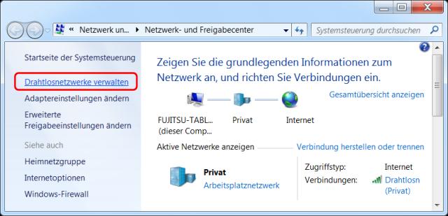 Windows 7 Netzwerk-Freigabecenter