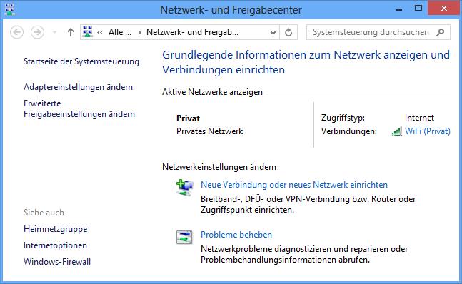 Windows 8 Netzwerk-Freigabecenter