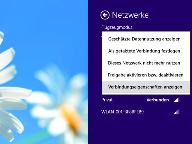 Windows 8 Verbindungseigenschaften