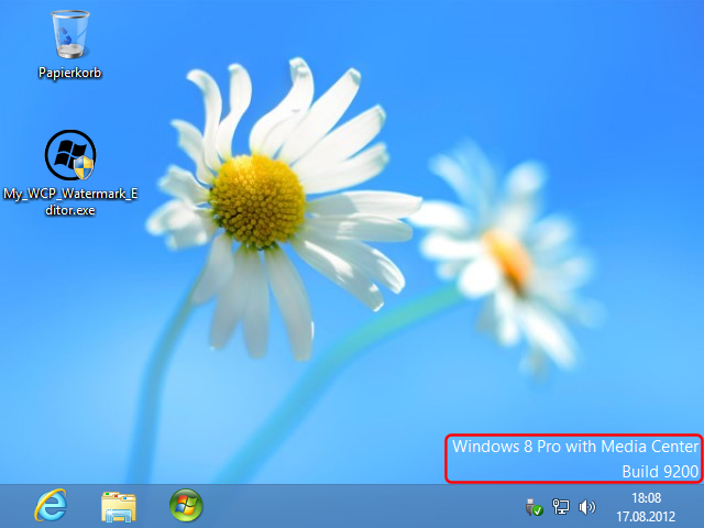 Windows 8 Consumer Preview mit Wasserzeichen