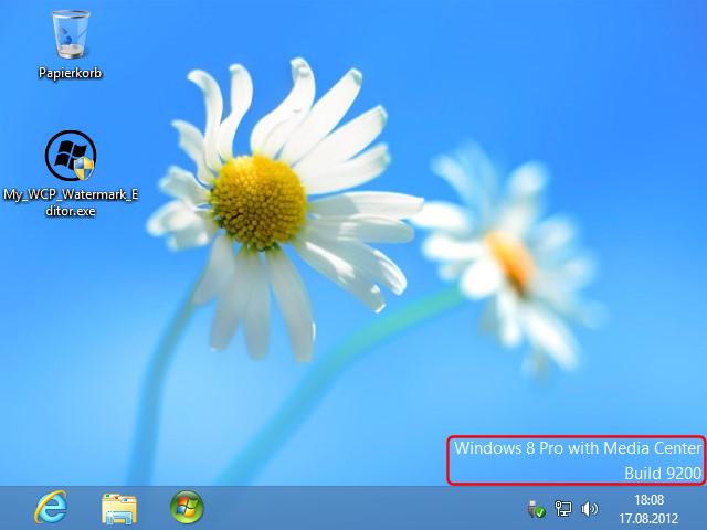 Windows 8 Consumer Preview mit Wasserzeichen