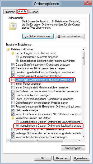 Geschützte Systemdateien und Ausgeblendeten Dateien anzeigen