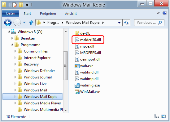 Windows Mail unter Windows 8