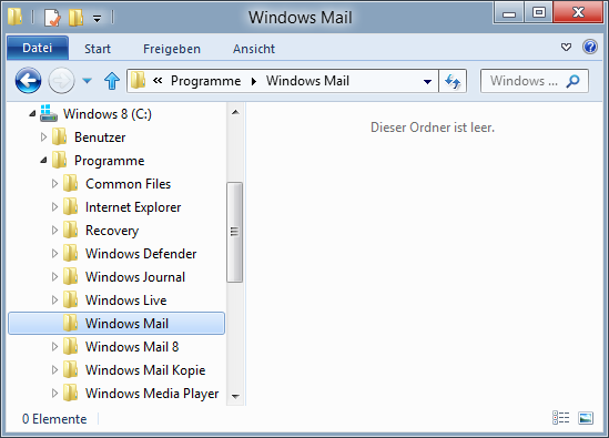 Windows Mail - neuer Ordner