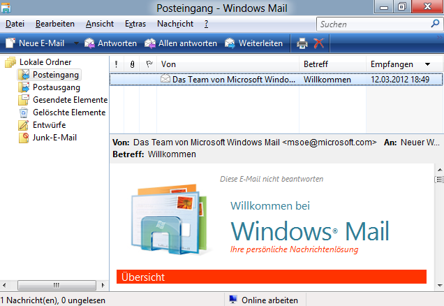 Windows Mail unter Windows 8 gestartet