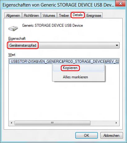 USB Geräteinstanzpfad kopieren