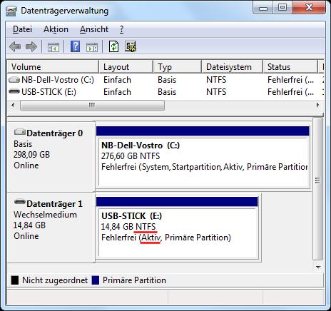 Aktivierte USB-Partition in der Datenträgerverwaltung