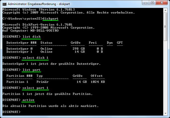 USB-Partition mit diskpart aktivieren